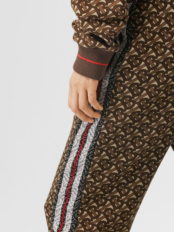 Monogram Stripe Print Cotton Trackpants in Bridle Brown - Women | Burberry - cell image 3