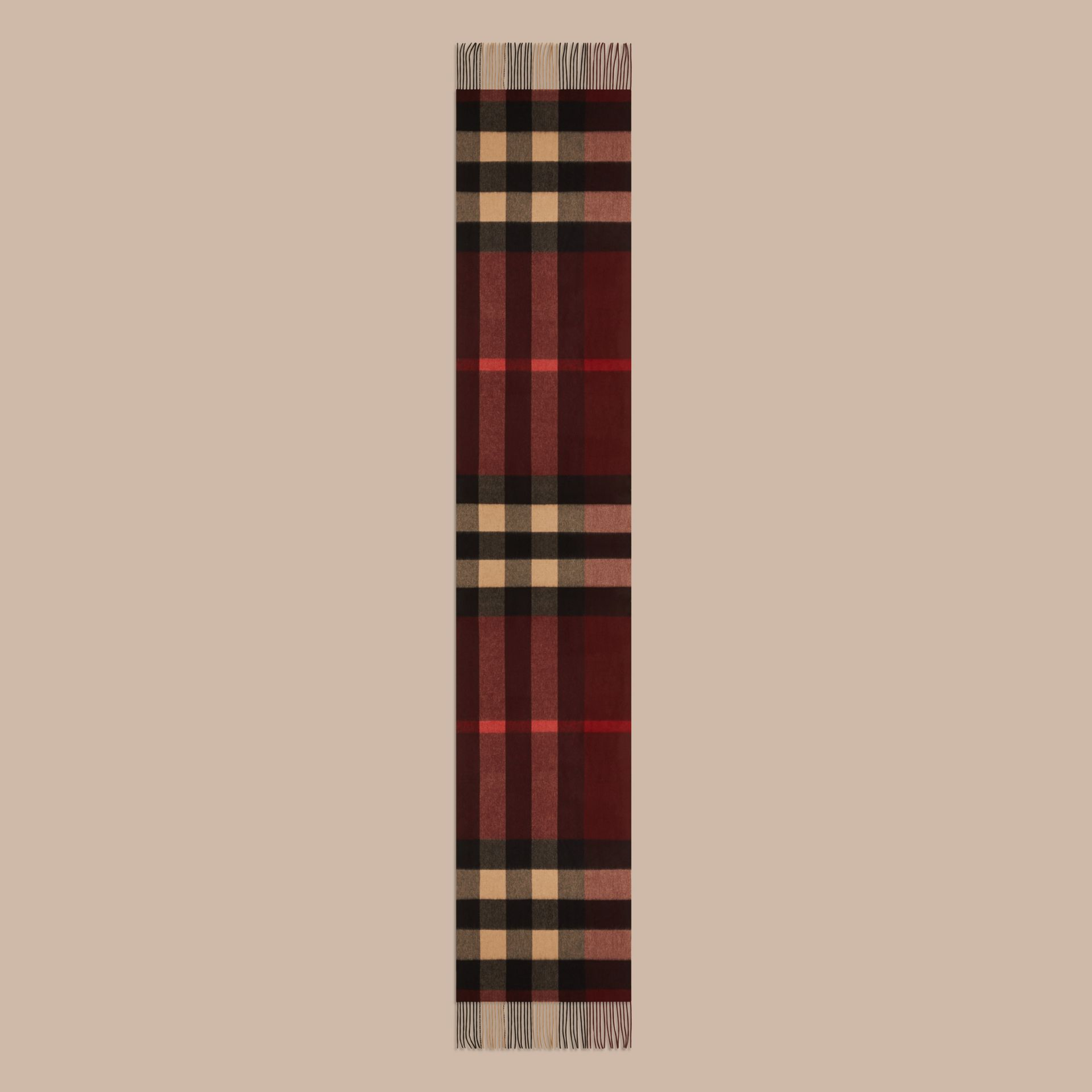 Oversize Check Cashmere Scarf in Claret - gallery image 4