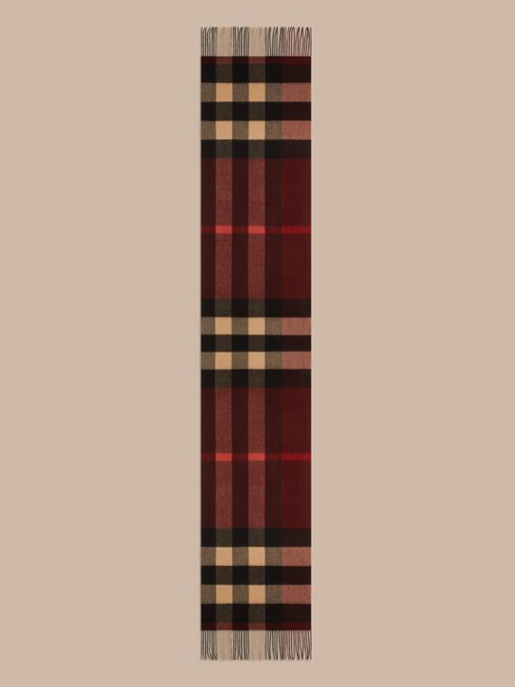 Oversize Check Cashmere Scarf in Claret - cell image 3