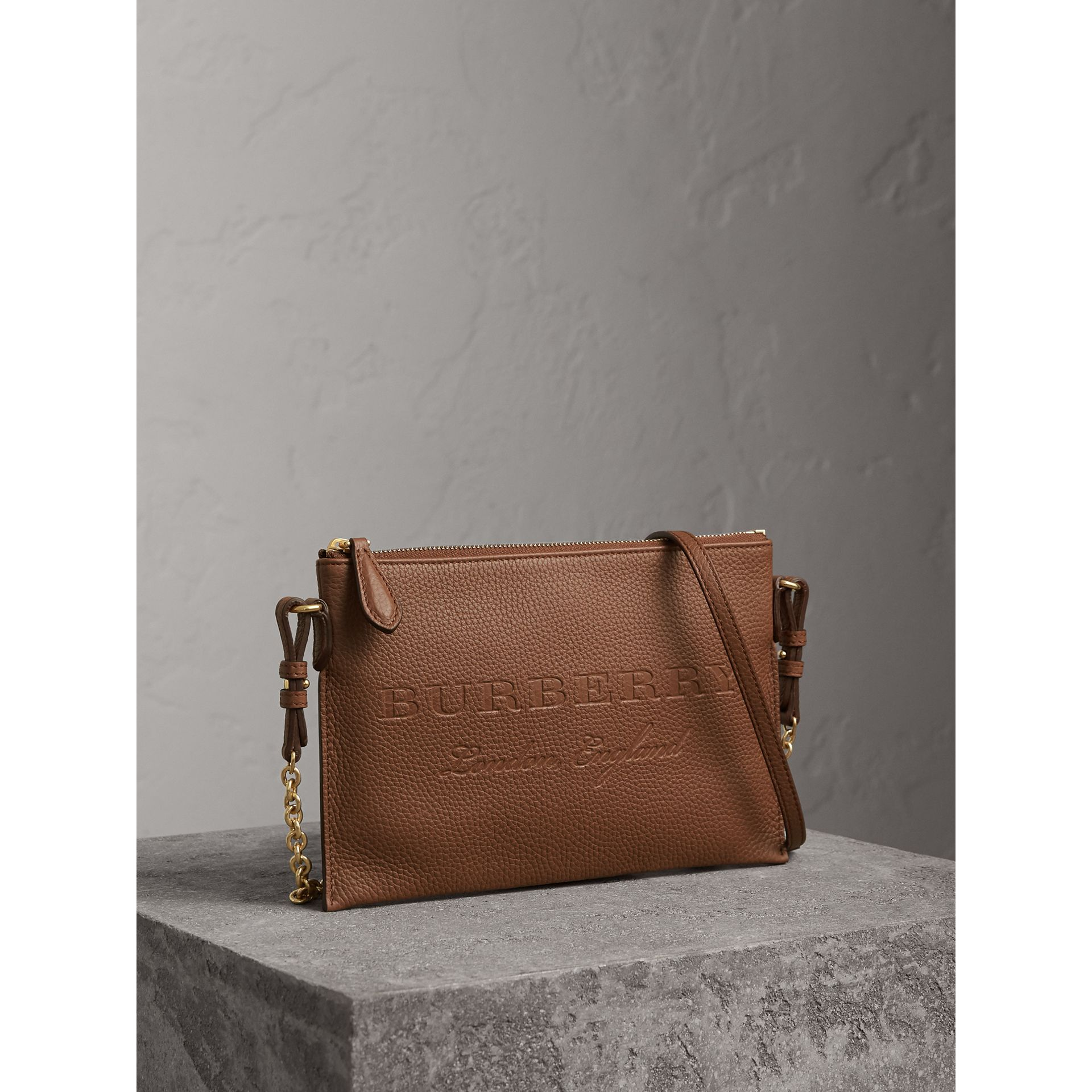 Embossed Leather Clutch Bag in Chestnut Brown - Women | Burberry - gallery image 6