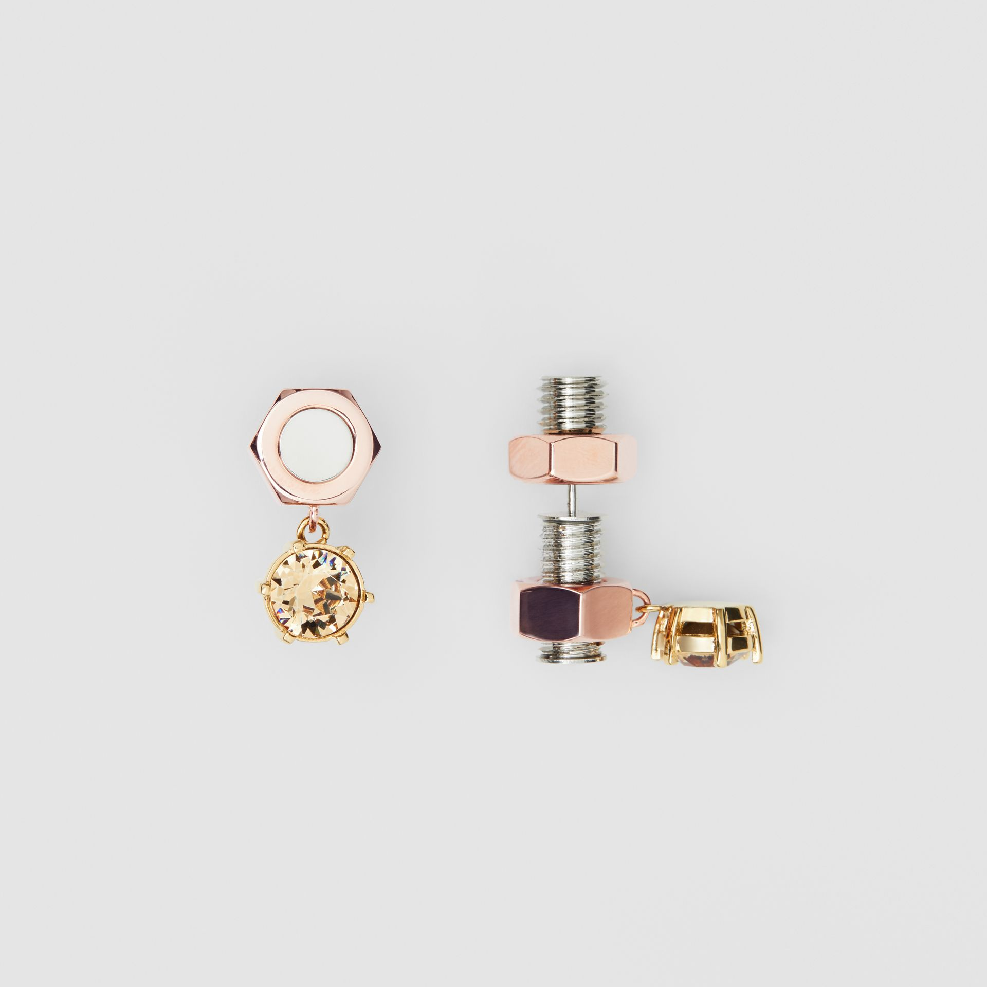 Crystal Charm Rose Gold-plated Nut and Bolt Earrings in Gold/palladium - Women | Burberry United States - gallery image 2