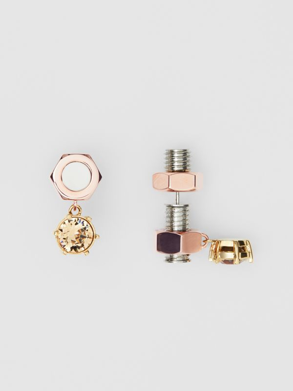 Crystal Charm Rose Gold-plated Nut and Bolt Earrings in Gold/palladium - Women | Burberry United Kingdom - cell image 2