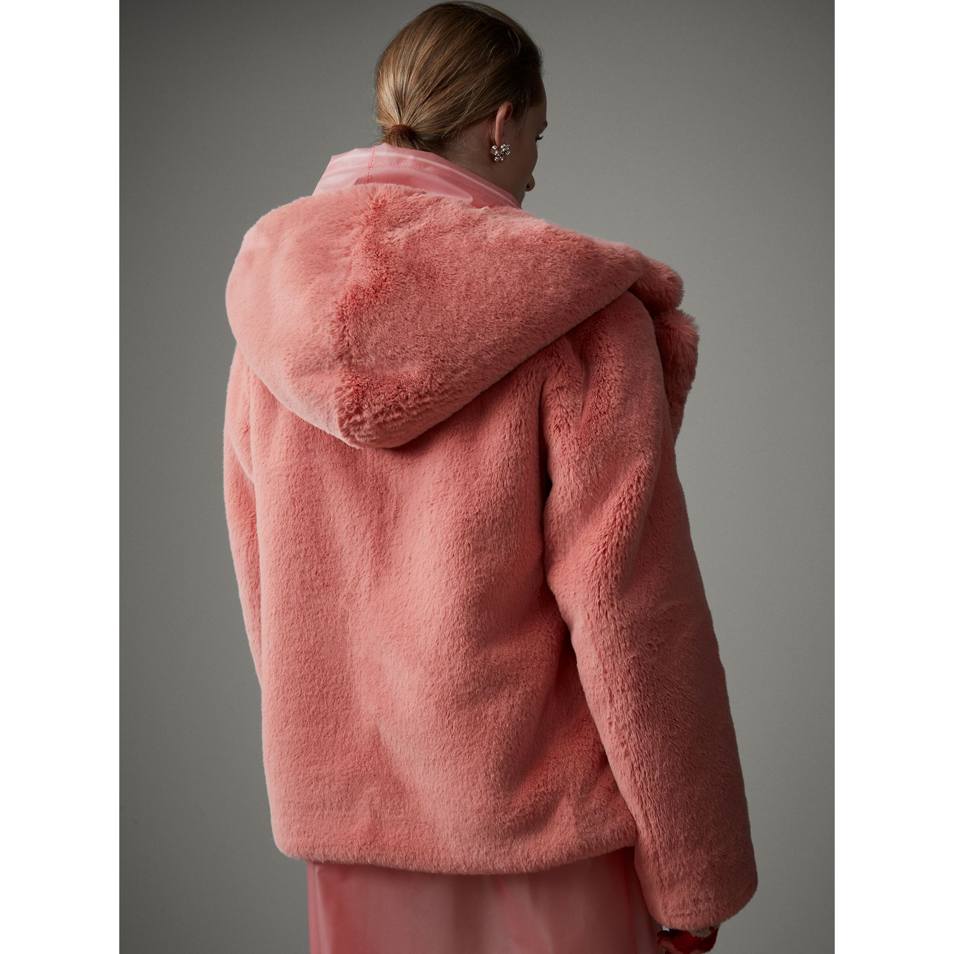 Faux Fur Hooded Jacket in Pale Pink - Women | Burberry Singapore - gallery image 1