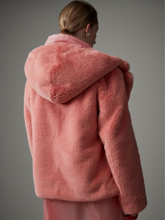 Faux Fur Hooded Jacket in Pale Pink - Women | Burberry - cell image 1