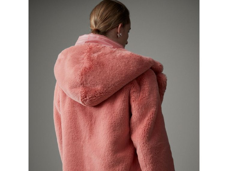 Faux Fur Hooded Jacket in Pale Pink - Women | Burberry United Kingdom - cell image 1
