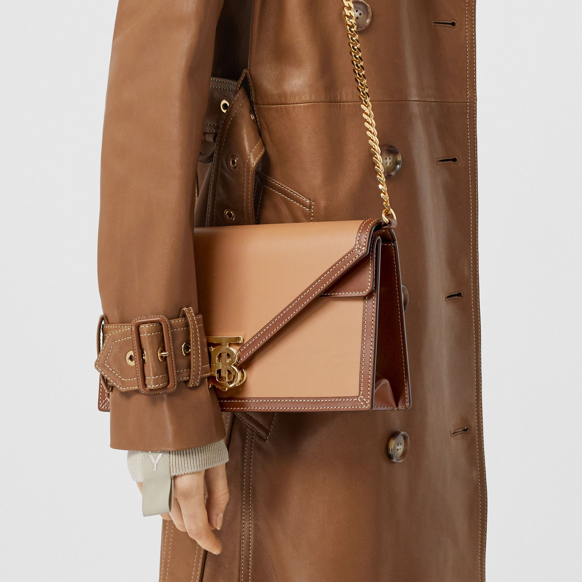 Small Two-tone Leather TB Envelope Clutch in Malt Brown - Women | Burberry - gallery image 9