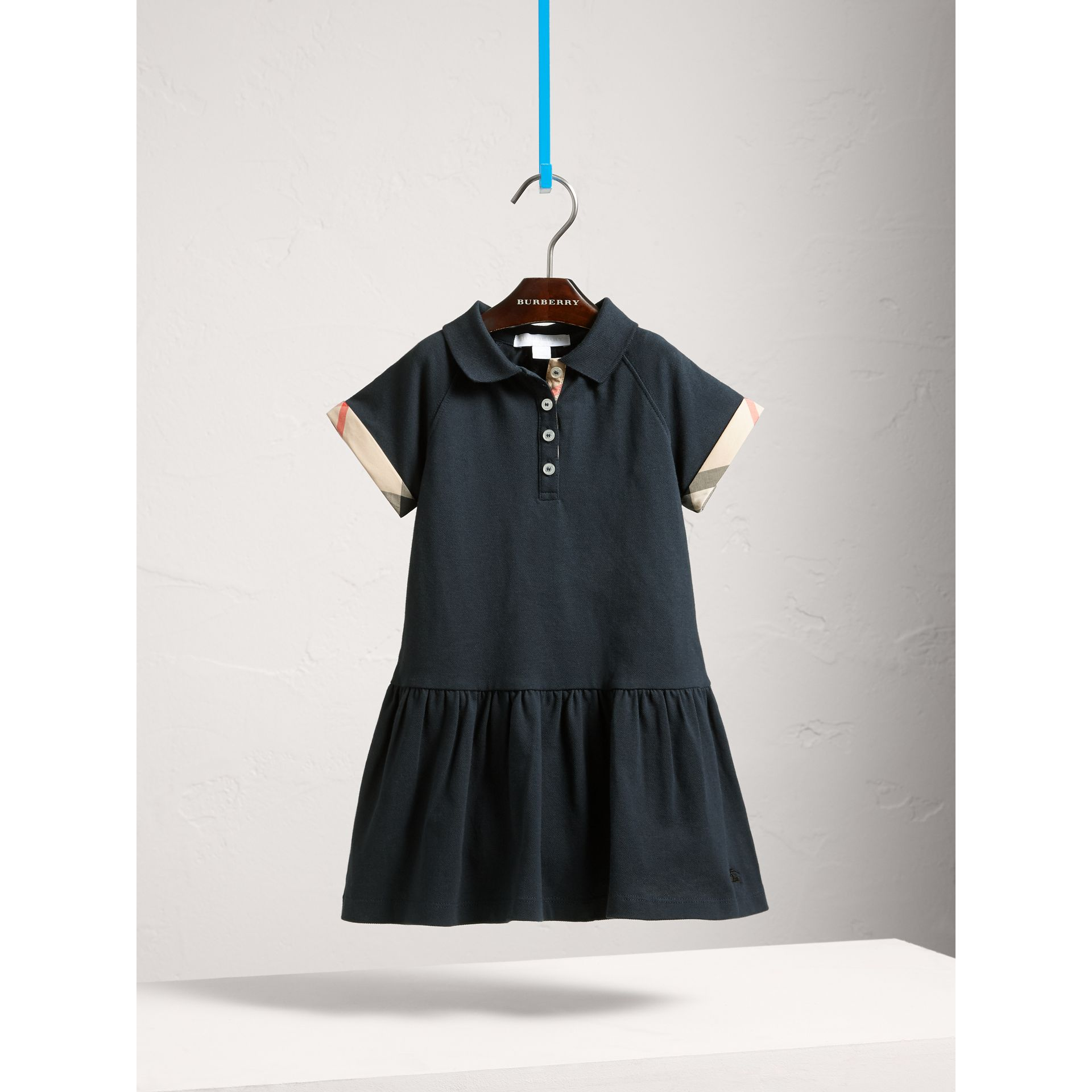 Dropped-waist Stretch Cotton Piqué Dress in Navy - Girl | Burberry - gallery image 2