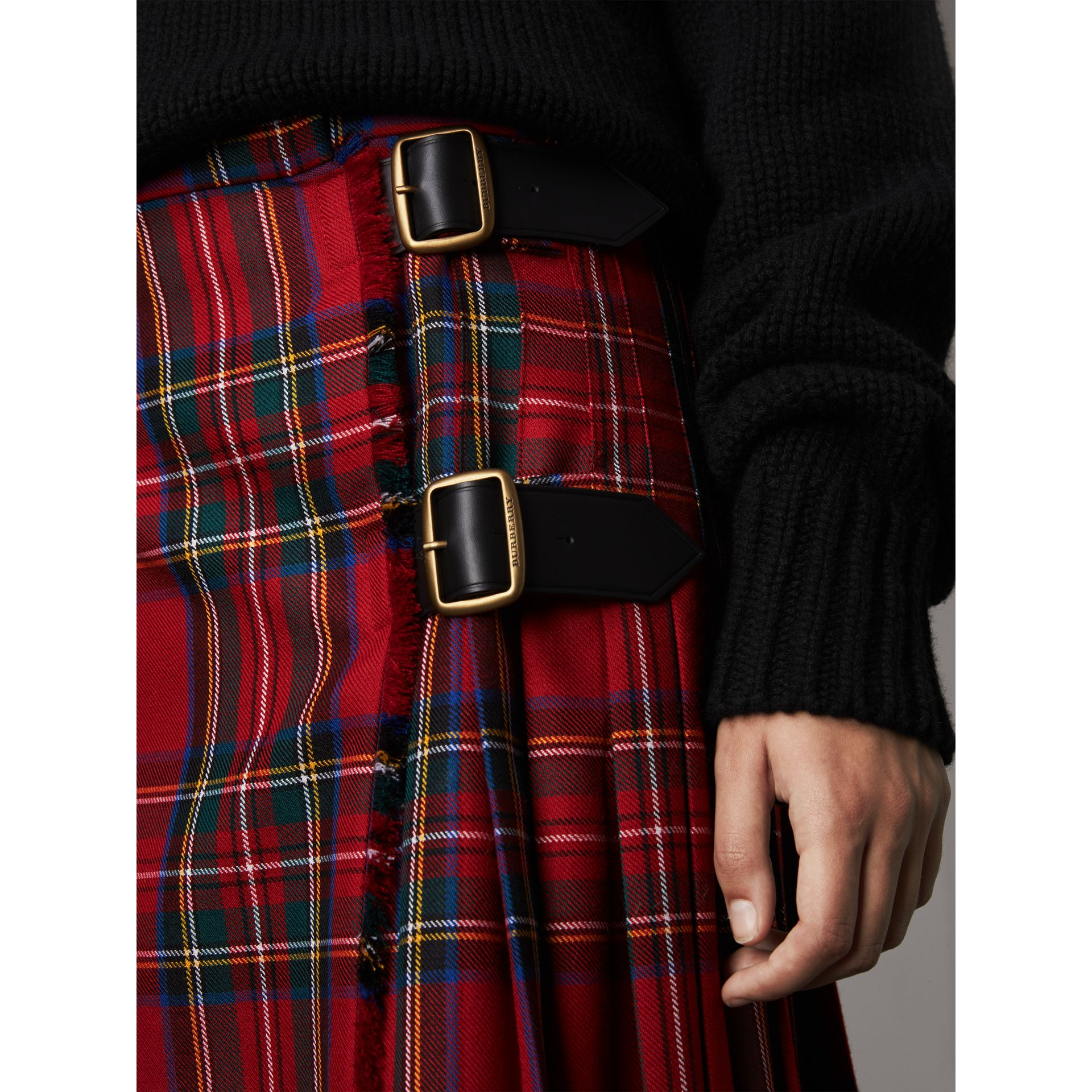 Tartan Wool Kilt in Bright Red - Women | Burberry - gallery image 1