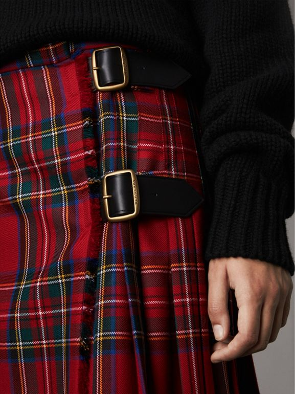 Tartan Wool Kilt in Bright Red | Burberry - cell image 1
