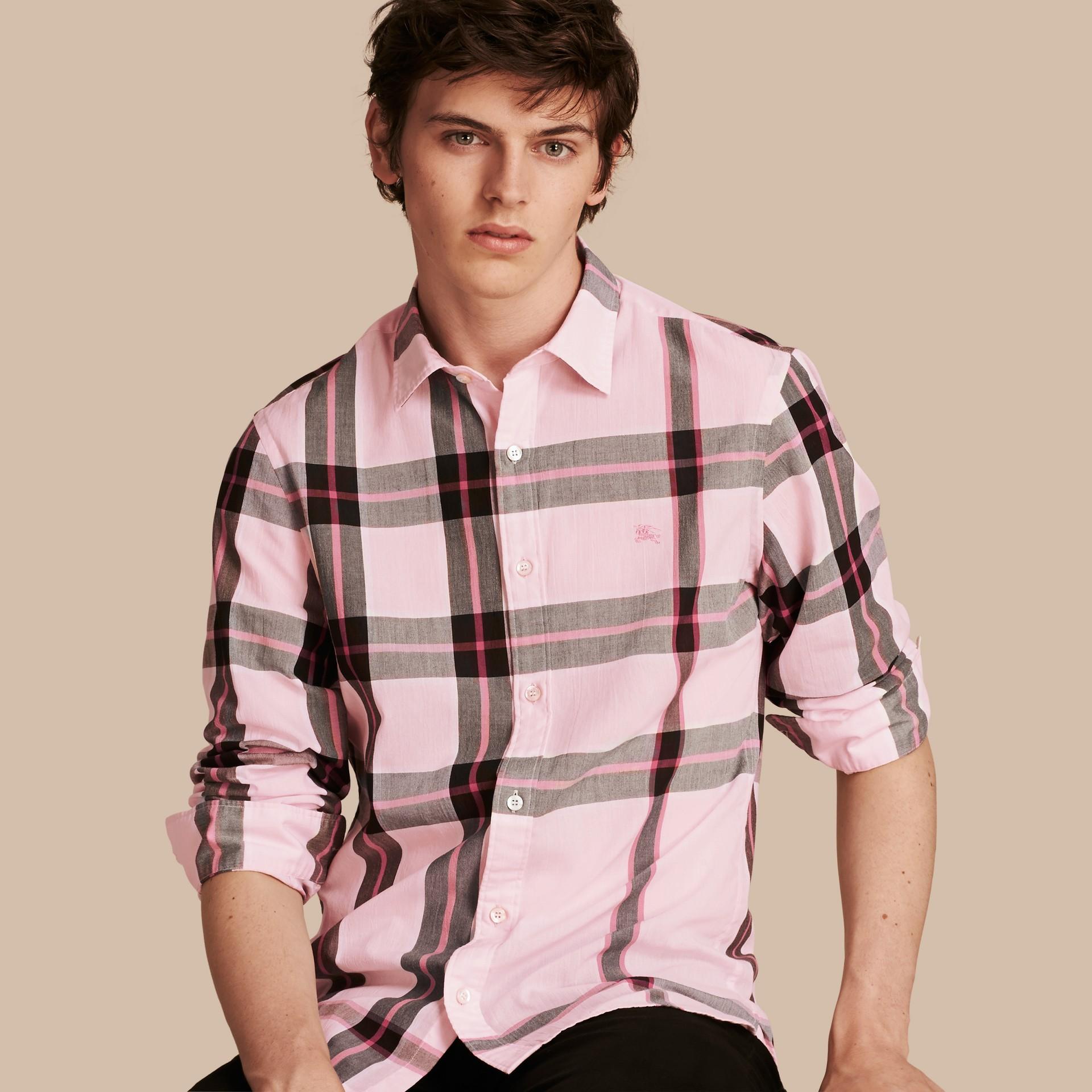 Check Cotton Shirt Light Pink - gallery image 1