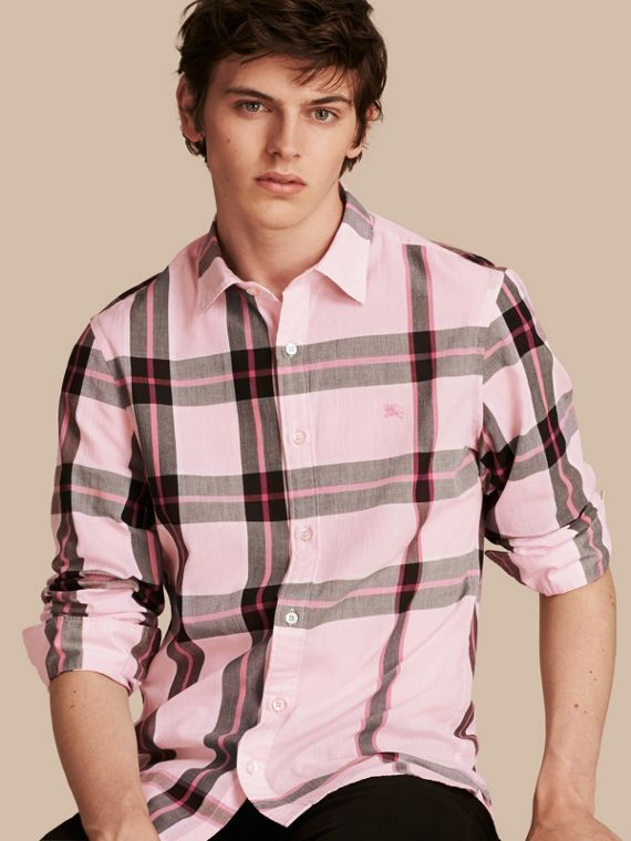 Camisa en algodón con motivo a cuadros Rosa Claro