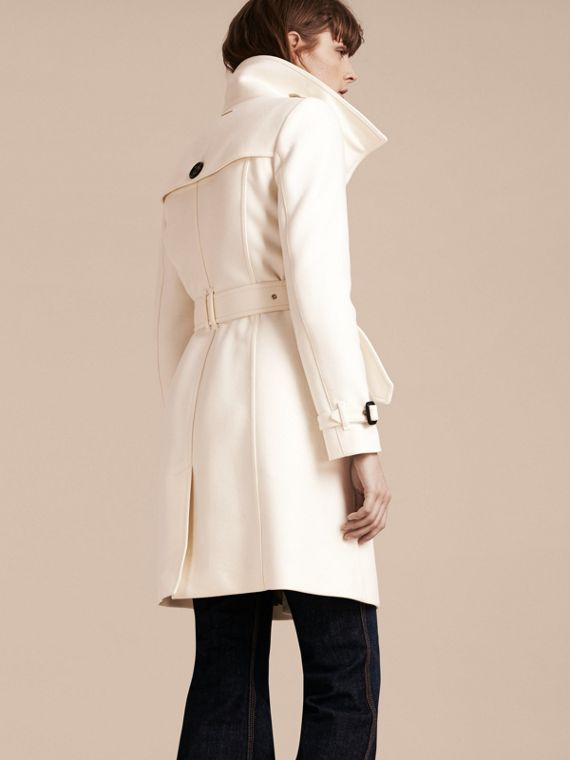 Natural white Technical Wool Cashmere Funnel Neck Coat Natural White - cell image 2