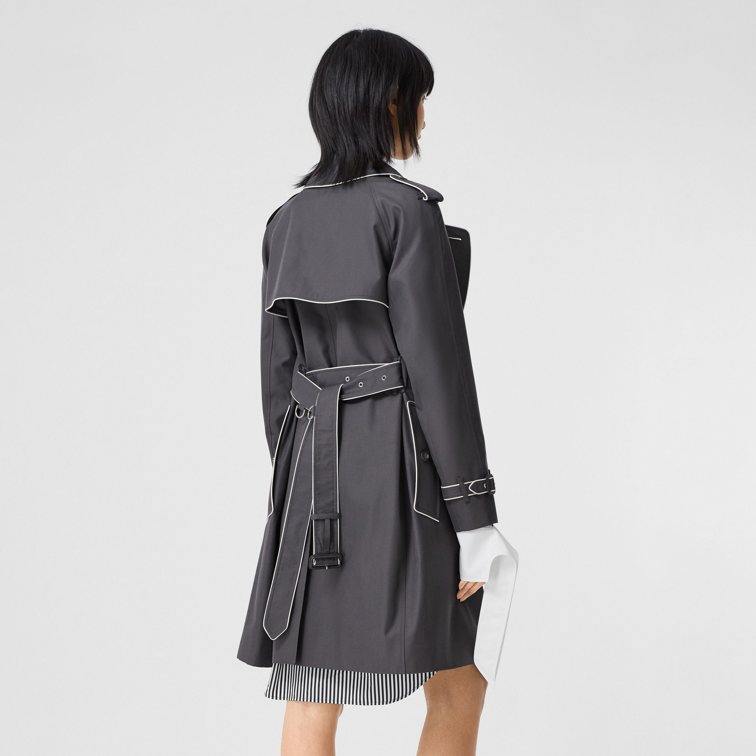 Piped Cotton Gabardine Trench Coat in Mid Grey - Women | Burberry - 3