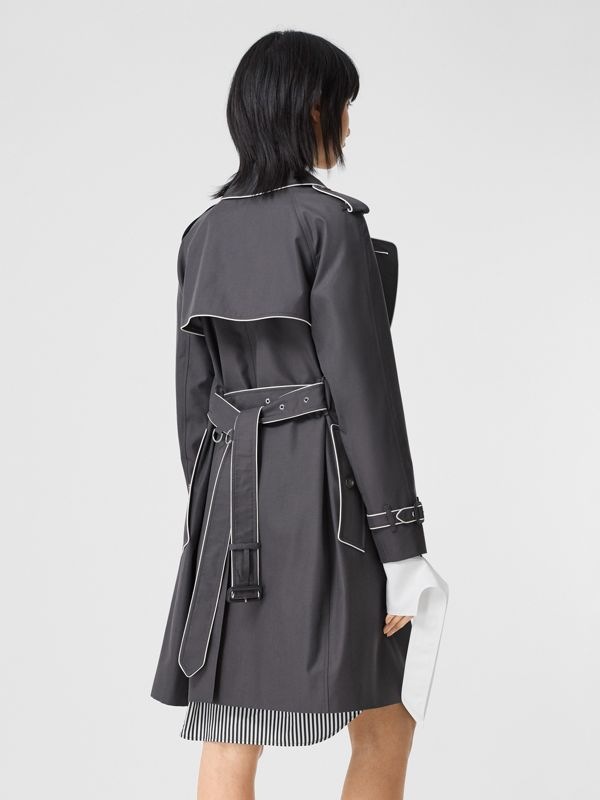 Piped Cotton Gabardine Trench Coat in Mid Grey - Women | Burberry - cell image 2