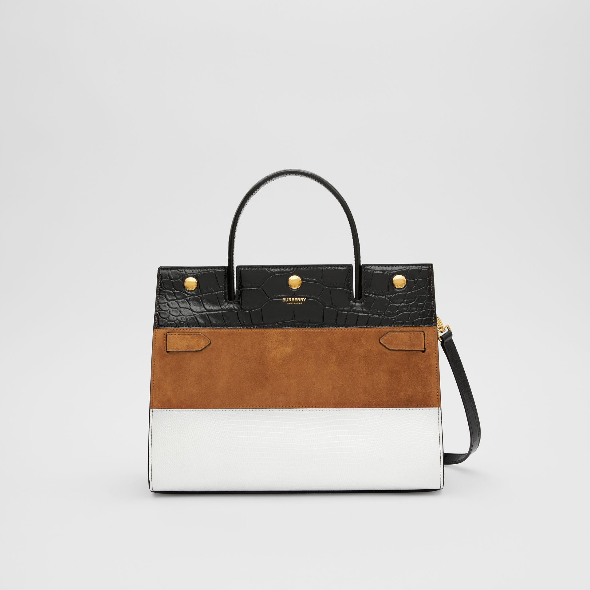 Small Panelled Leather, Suede and Deerskin Title Bag in White/maple - Women | Burberry - gallery image 0