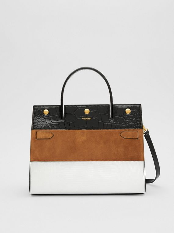 Small Panelled Leather, Suede and Deerskin Title Bag in White/maple