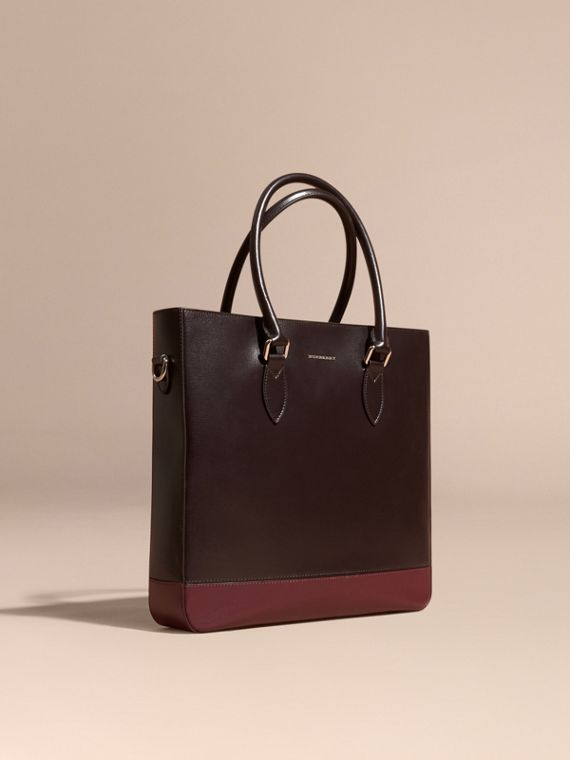 Sac tote en cuir London à empiècements Lie-de-vin/rouge Bourgogne