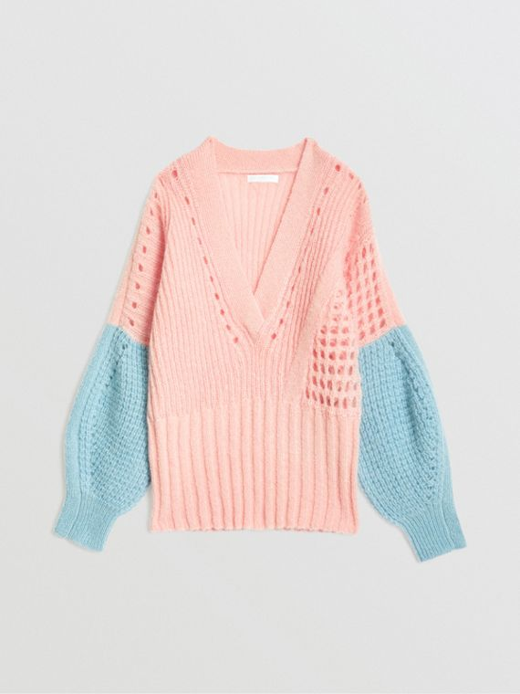 Contrast Knit Mohair Wool Blend Sweater in Pale Pink