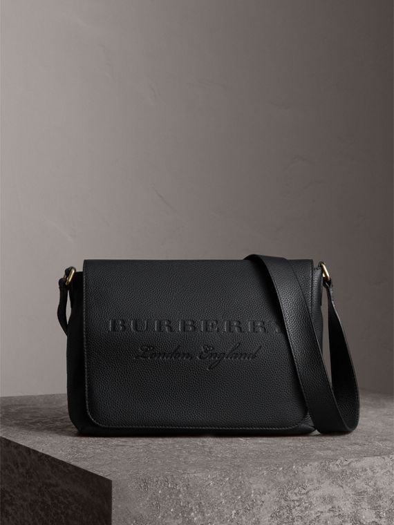 Medium Embossed Leather Messenger Bag in Black