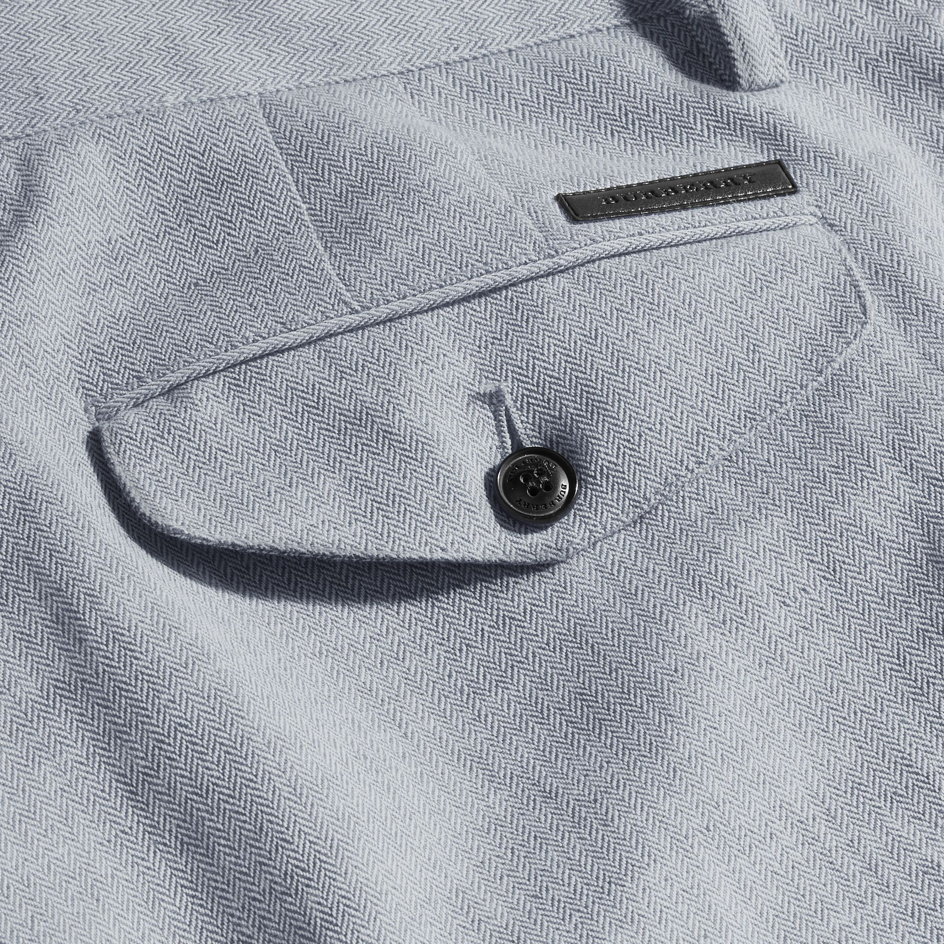 Pale blue Linen Cotton Chinos - gallery image 2