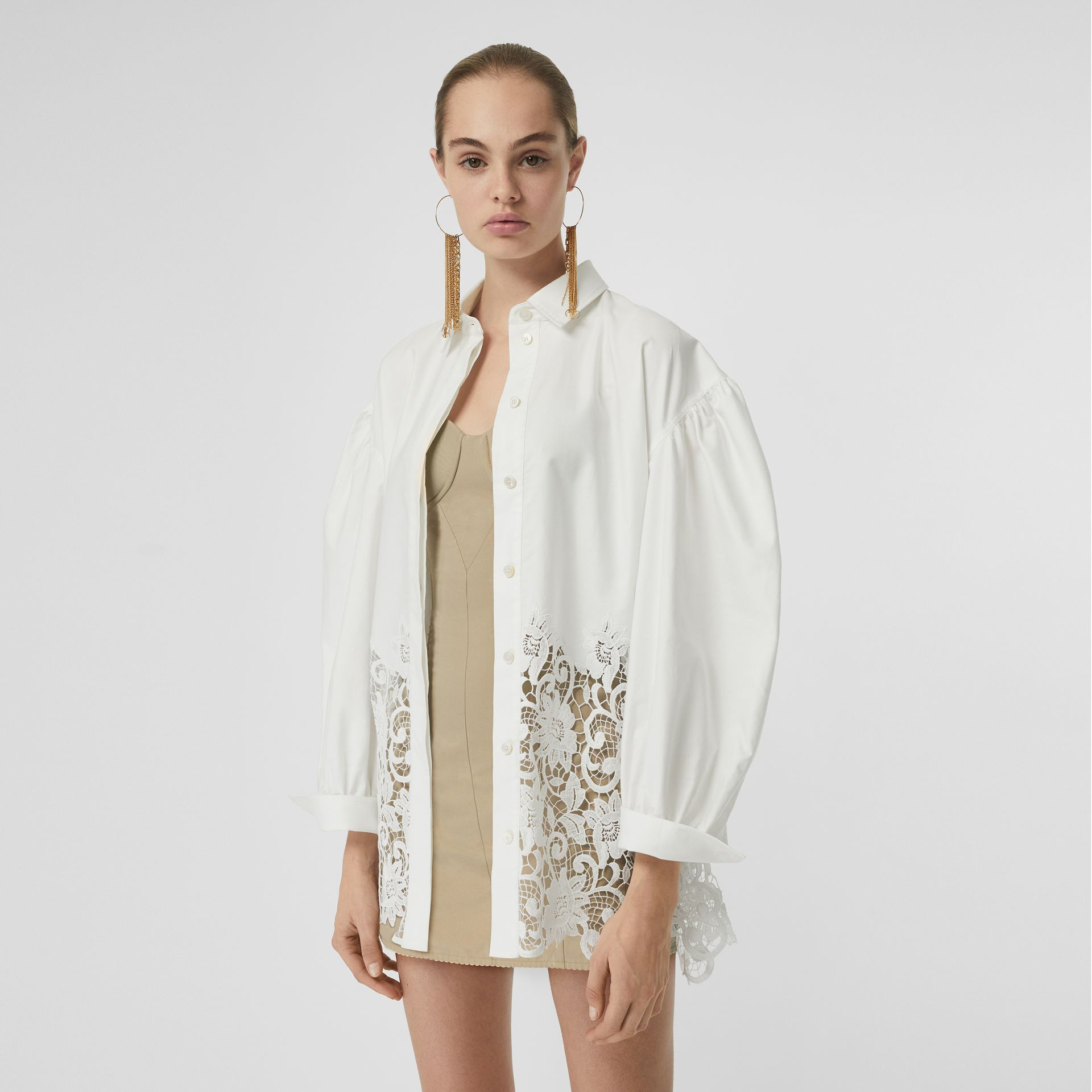 Macramé Lace Panel Cotton Oxford Oversized Shirt in White | Burberry - gallery image 0