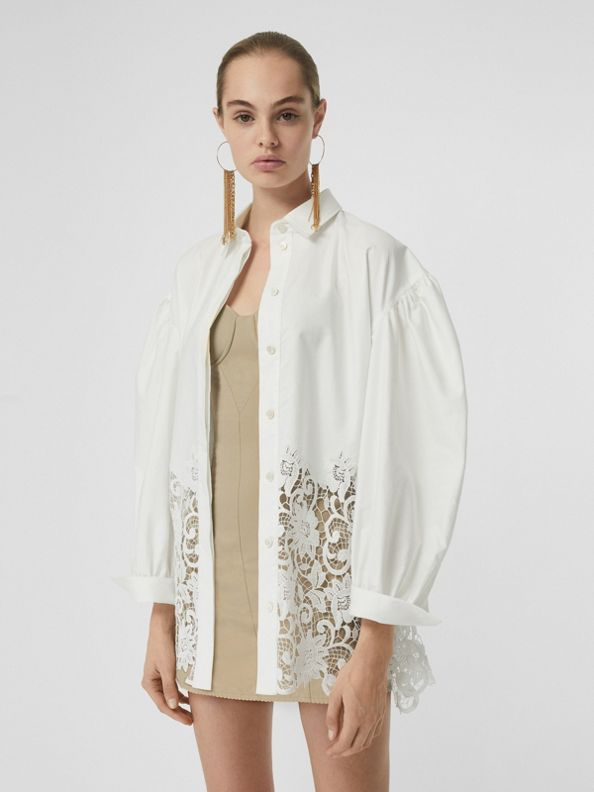 Macramé Lace Panel Cotton Oxford Shirt in White