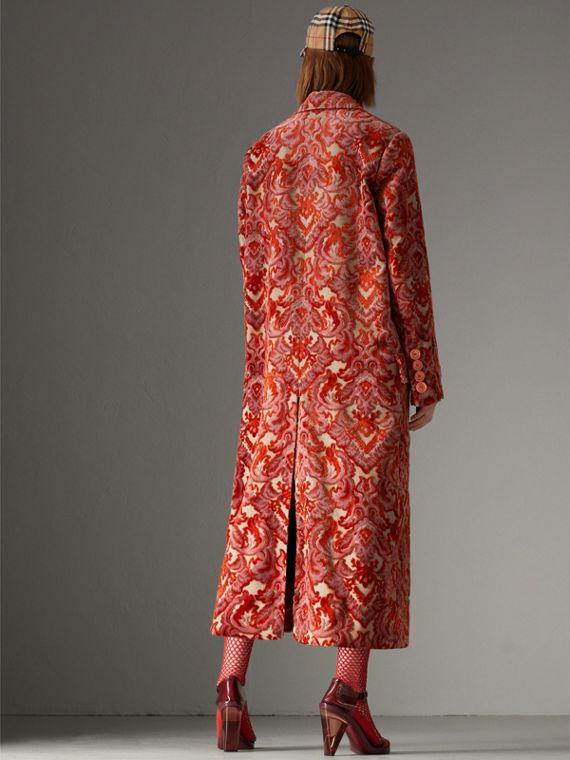 Damask Velvet Jacquard Tailored Coat in Rose Pink - Women | Burberry - cell image 2