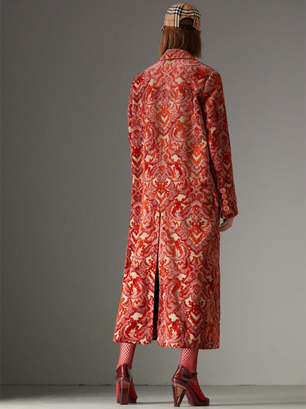 Damask Velvet Jacquard Tailored Coat in Rose Pink - Women | Burberry Canada - cell image 2