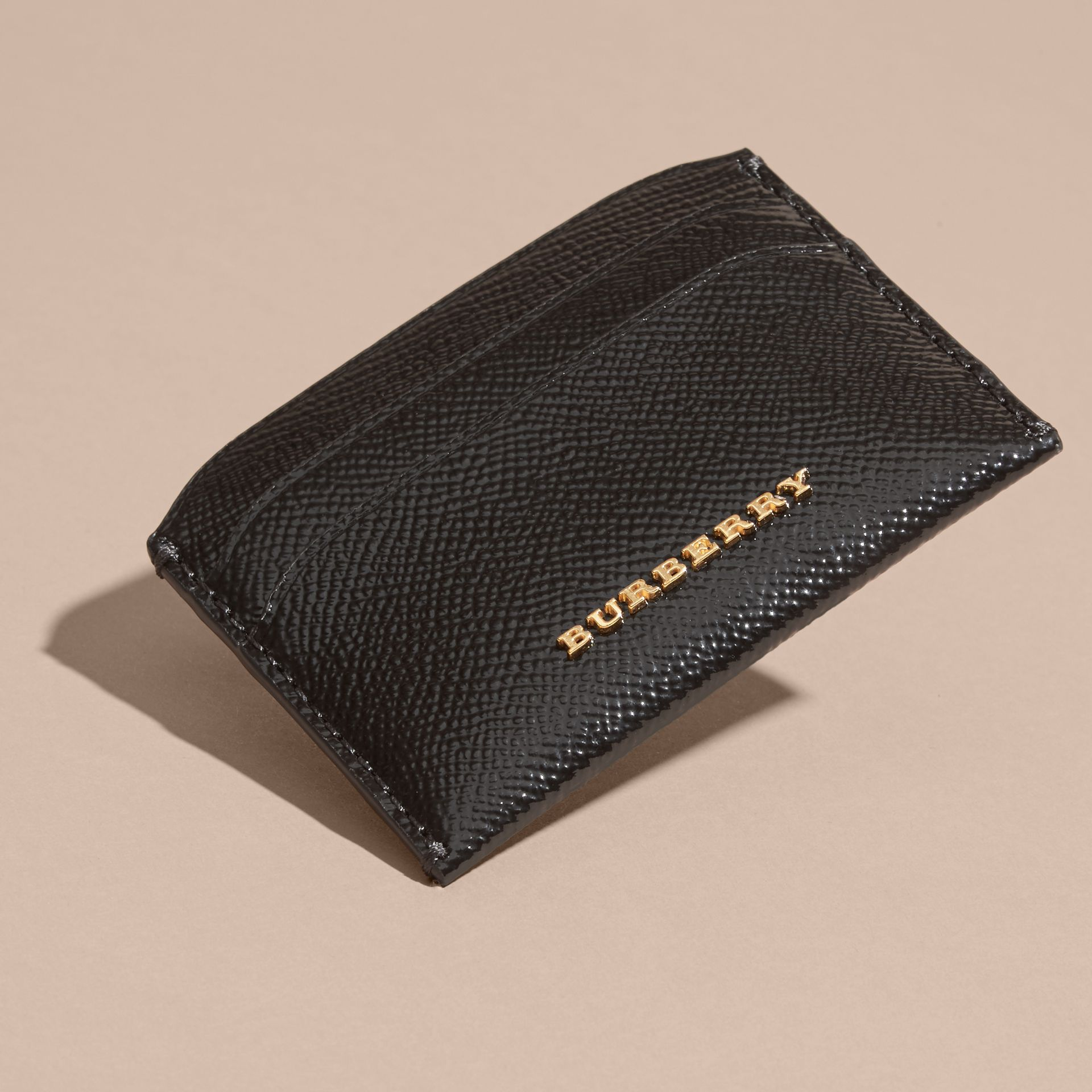 Black Check and Leather Card Case - gallery image 3