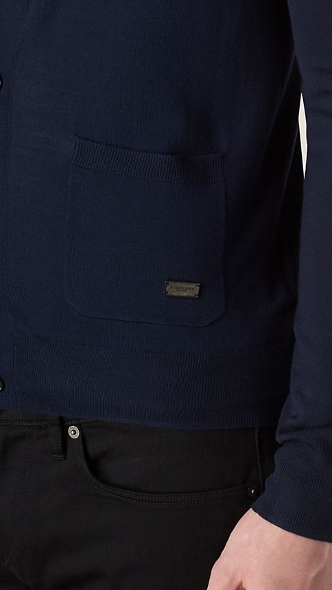Navy V-Neck Merino Wool Cardigan - Image 3