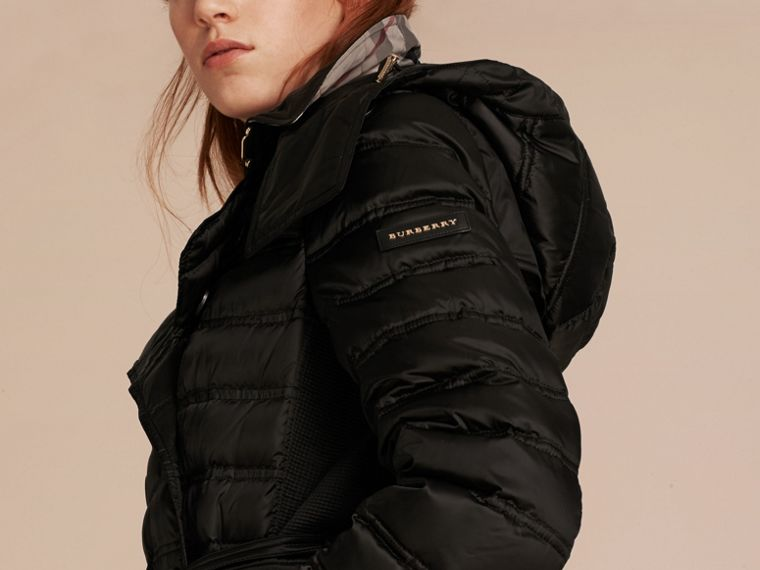 Down-filled Puffer Coat with Detachable Hood in Black - cell image 4