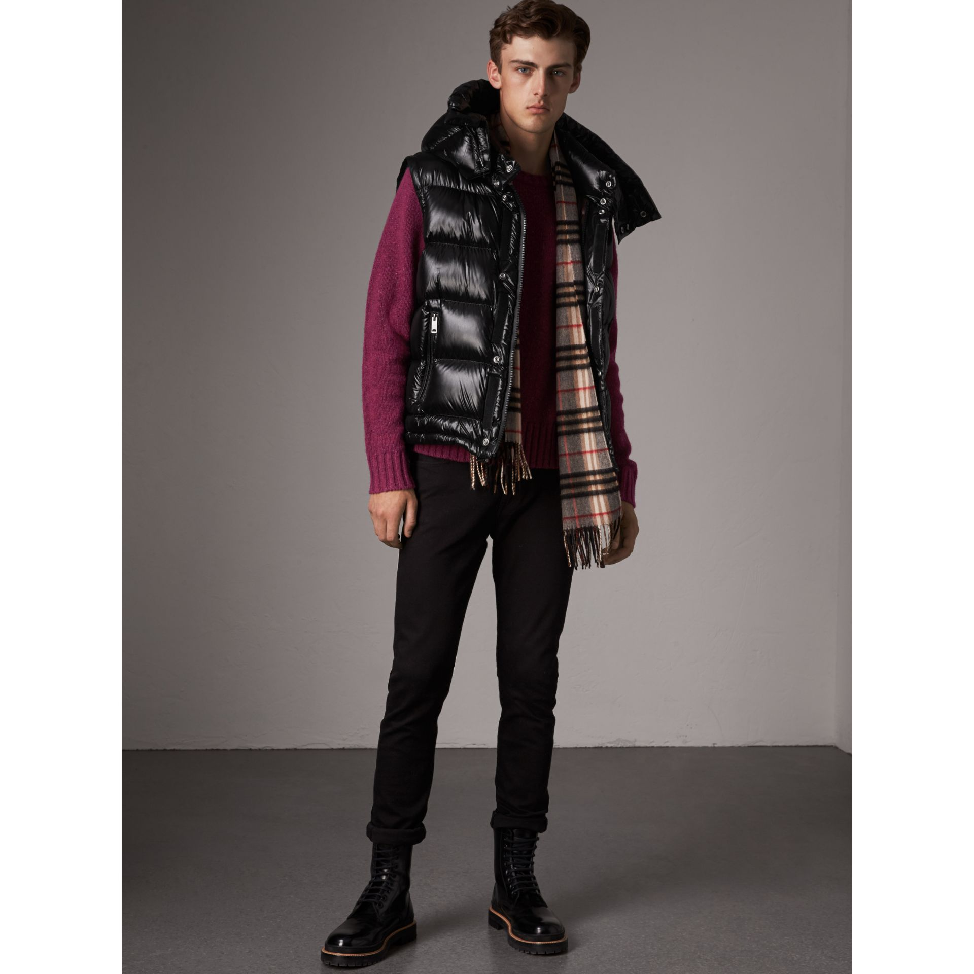 Detachable Hood Down-filled Gilet in Black - Men | Burberry - gallery image 0