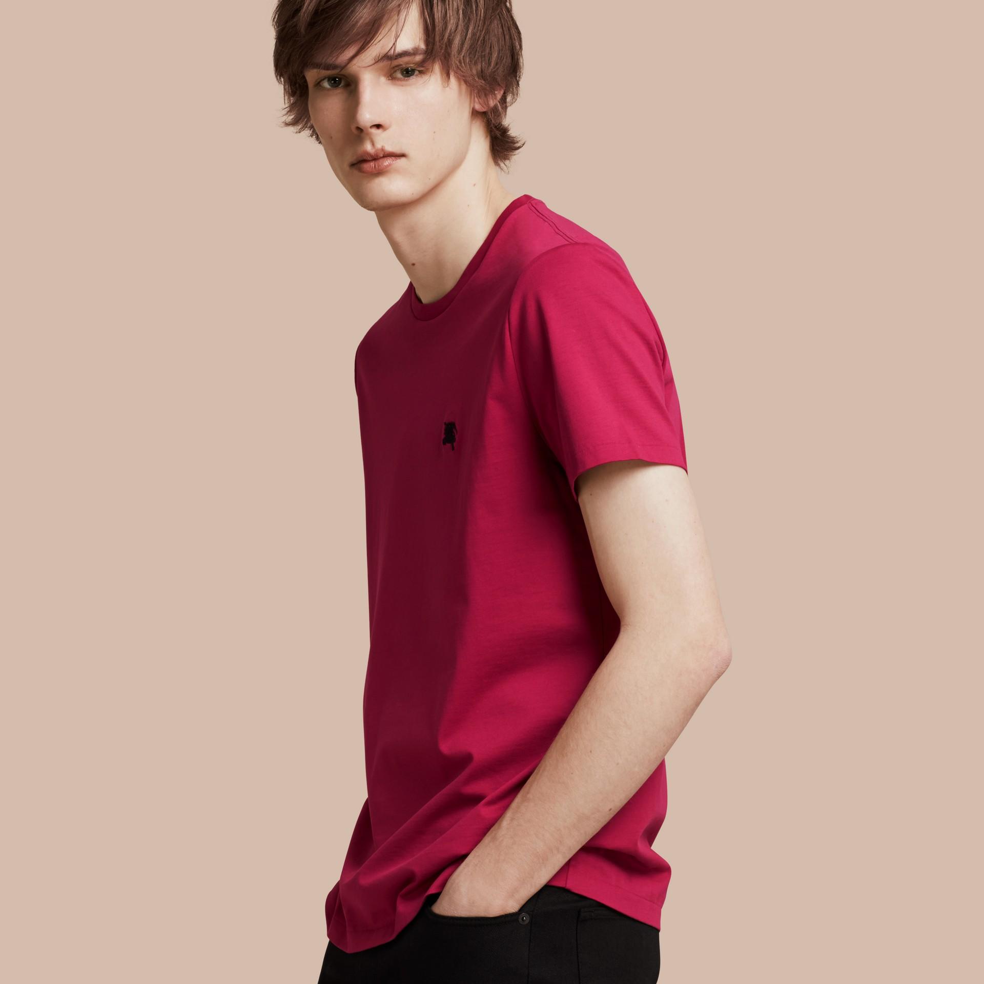 Fucsia acceso T-shirt in cotone morbidissimo Fucsia Acceso - immagine della galleria 1