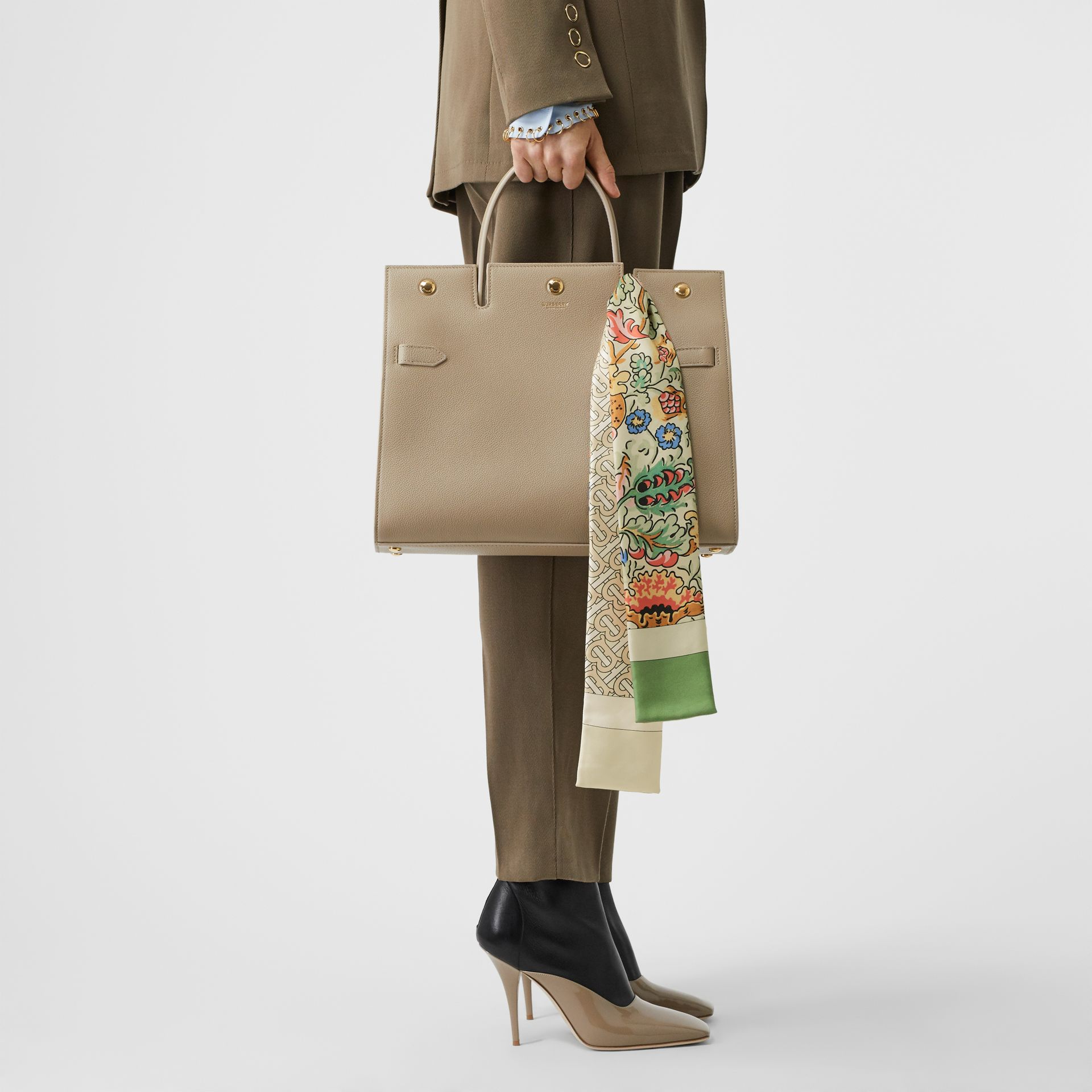 Floral and Monogram Print Silk Skinny Scarf in Sage Green | Burberry - gallery image 7