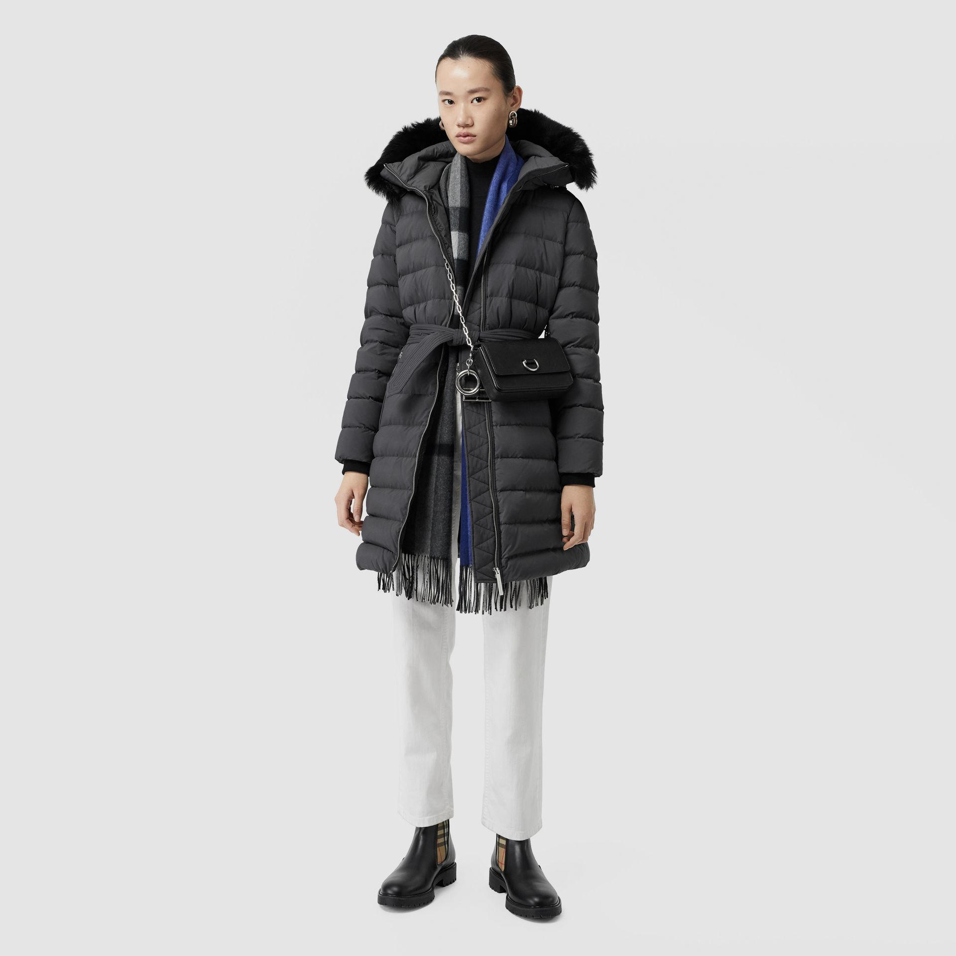 Detachable Shearling Trim Down-filled Puffer Coat in Mid Grey - Women | Burberry United States - gallery image 0
