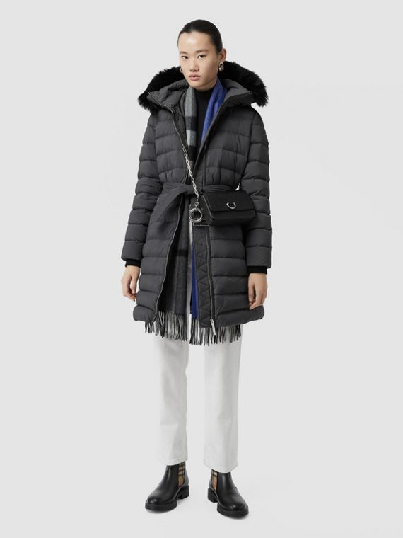 Detachable Shearling Trim Down-filled Puffer Coat in Mid Grey