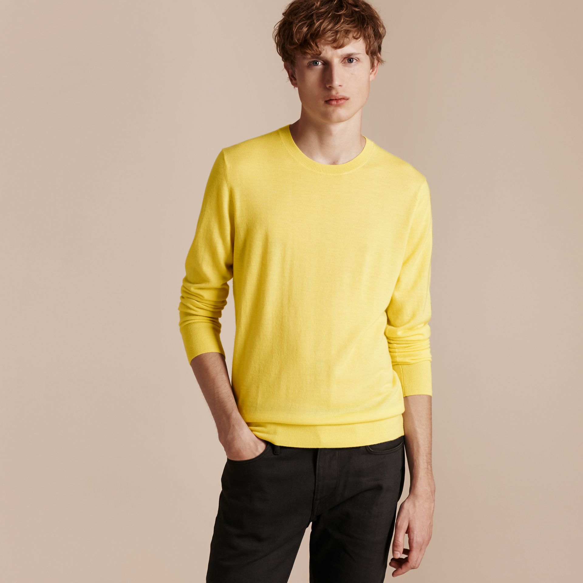 Lightweight Crew Neck Cashmere Sweater with Check Trim Pale Lemon - gallery image 6