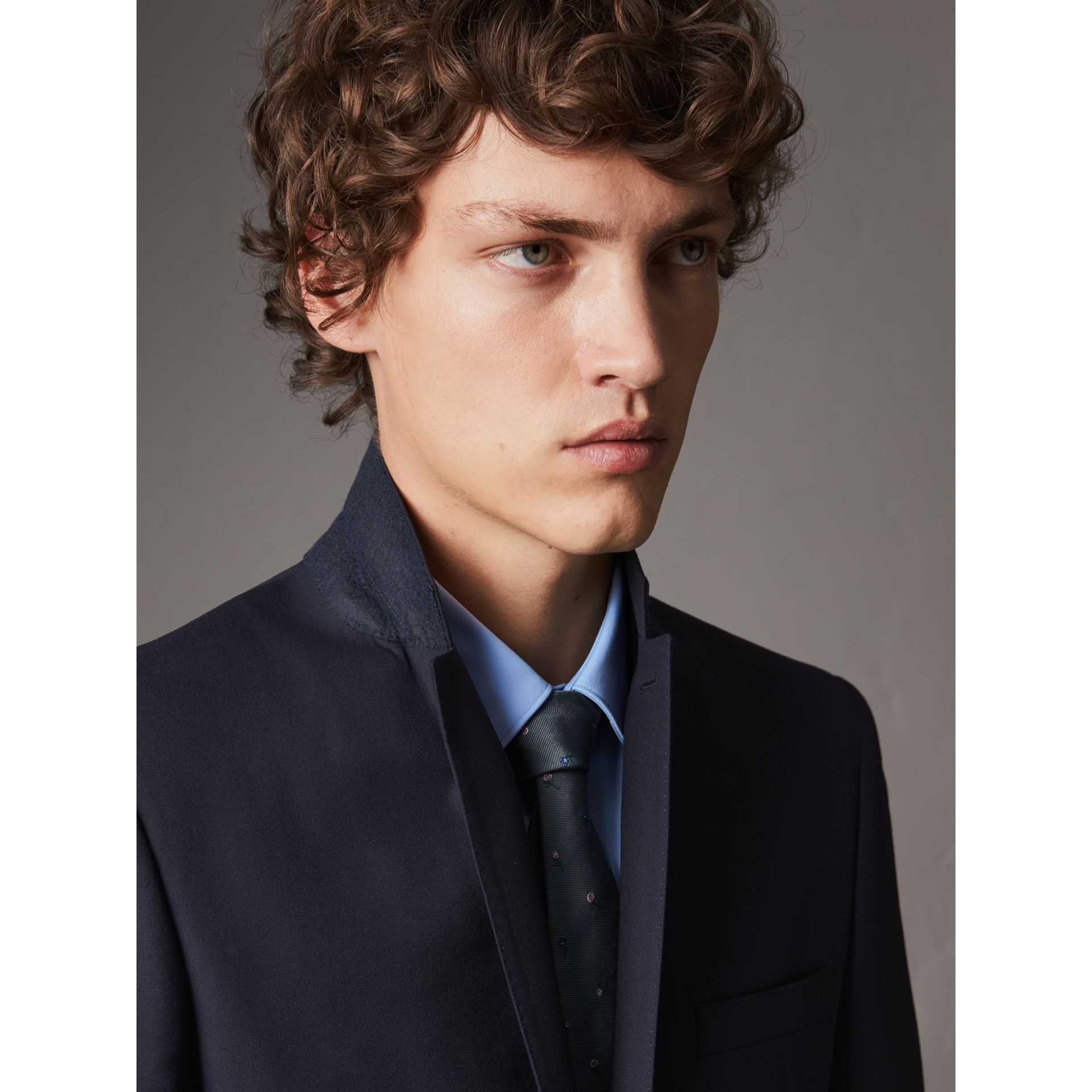 Slim Fit Wool Part-canvas Suit in Navy - Men | Burberry - gallery image 2