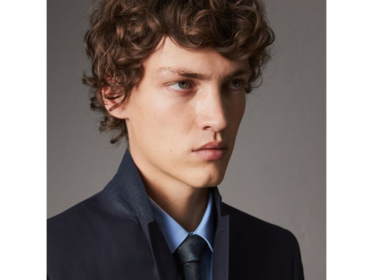 Slim Fit Wool Part-canvas Suit in Navy - Men | Burberry United Kingdom - cell image 1