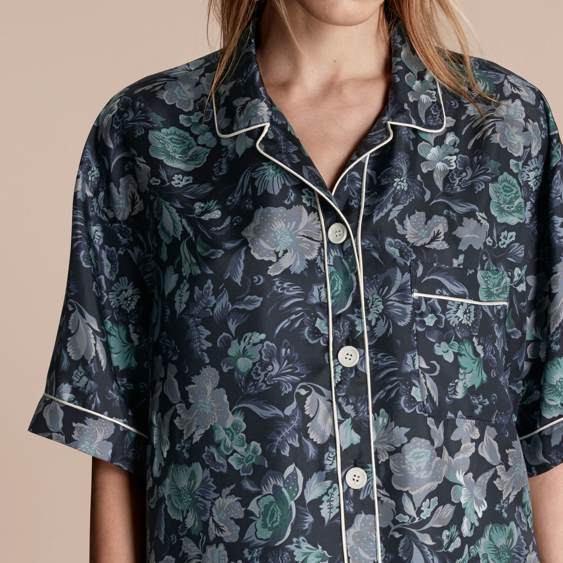 Navy Short-sleeved Floral Print Silk Pyjama-style Shirt Navy - gallery image 5