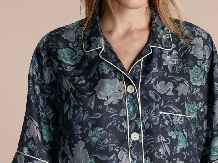 Navy Short-sleeved Floral Print Silk Pyjama-style Shirt Navy - cell image 4