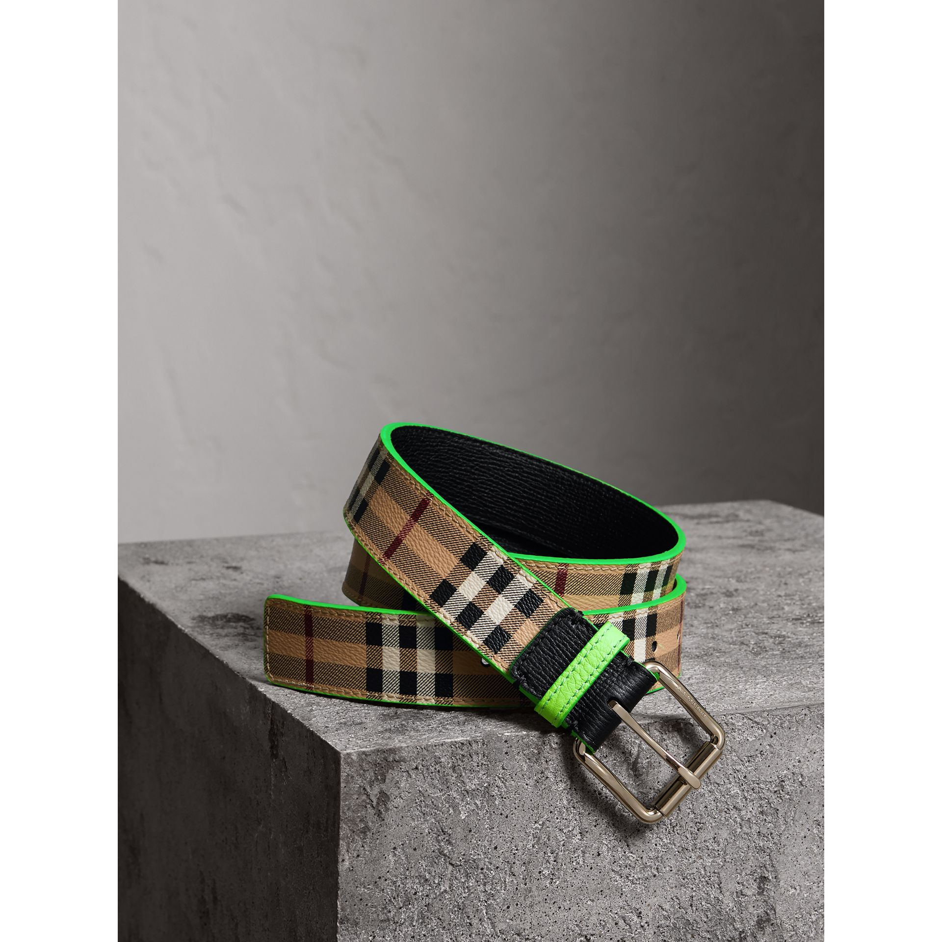 Haymarket Check and Leather Belt in Neon Green - Men | Burberry - gallery image 0