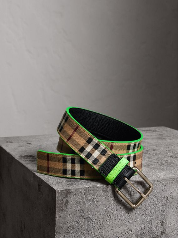 Haymarket Check and Leather Belt in Neon Green