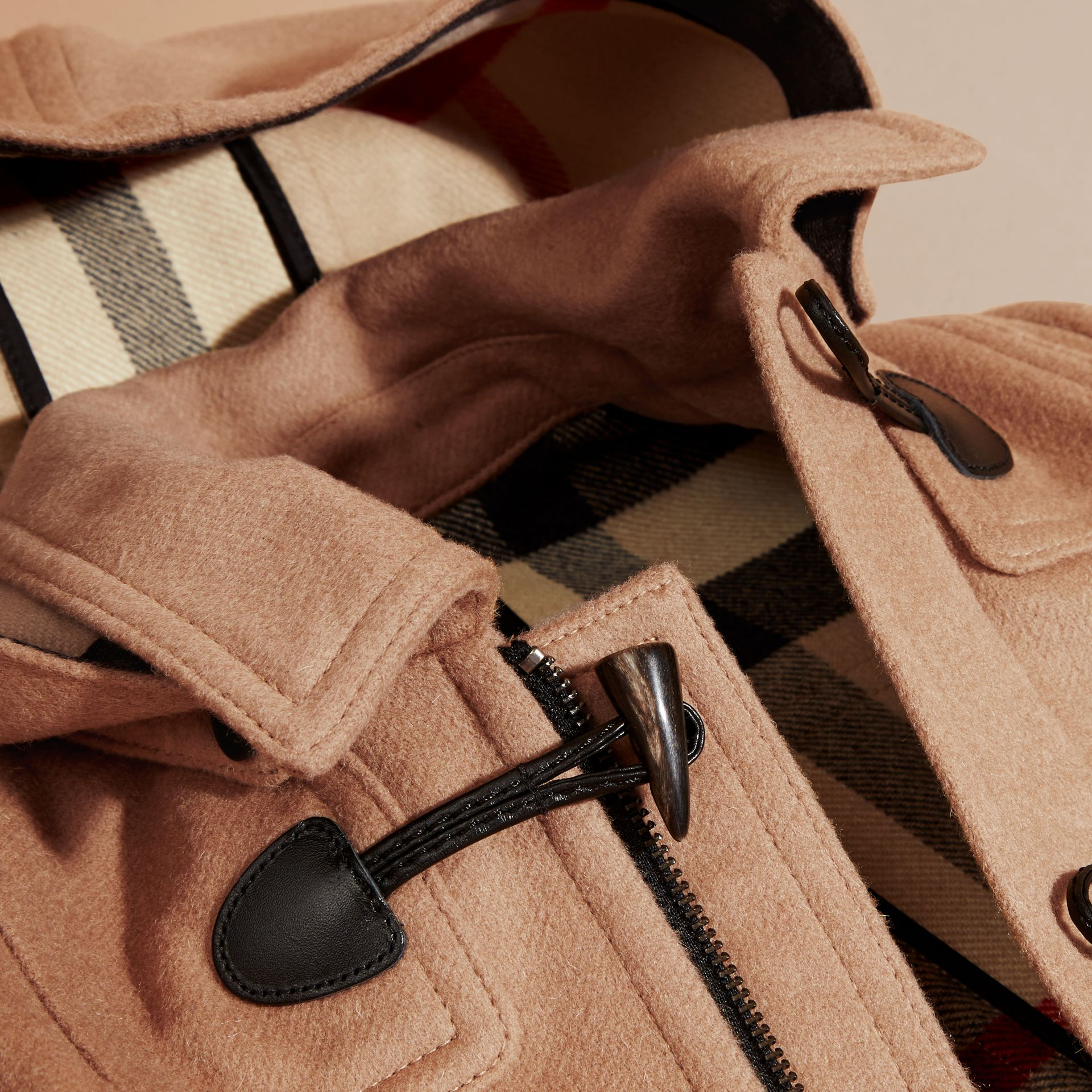 Hooded Wool Duffle Coat in New Camel | Burberry Australia - gallery image 2