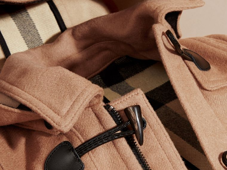 Hooded Wool Duffle Coat in New Camel | Burberry Australia - cell image 1