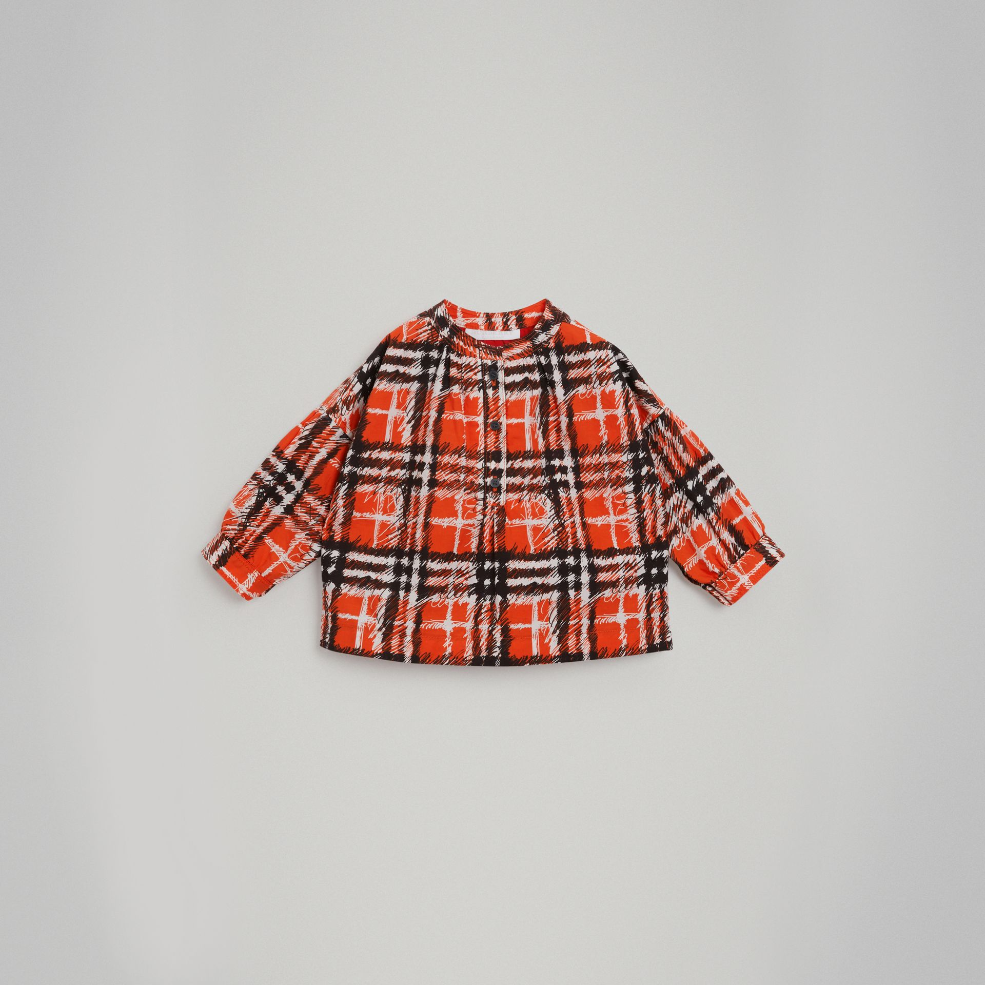 Scribble Check Print Cotton Shirt in Bright Red - Girl | Burberry - gallery image 0