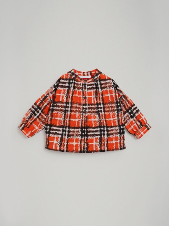 Scribble Check Print Cotton Shirt in Bright Red