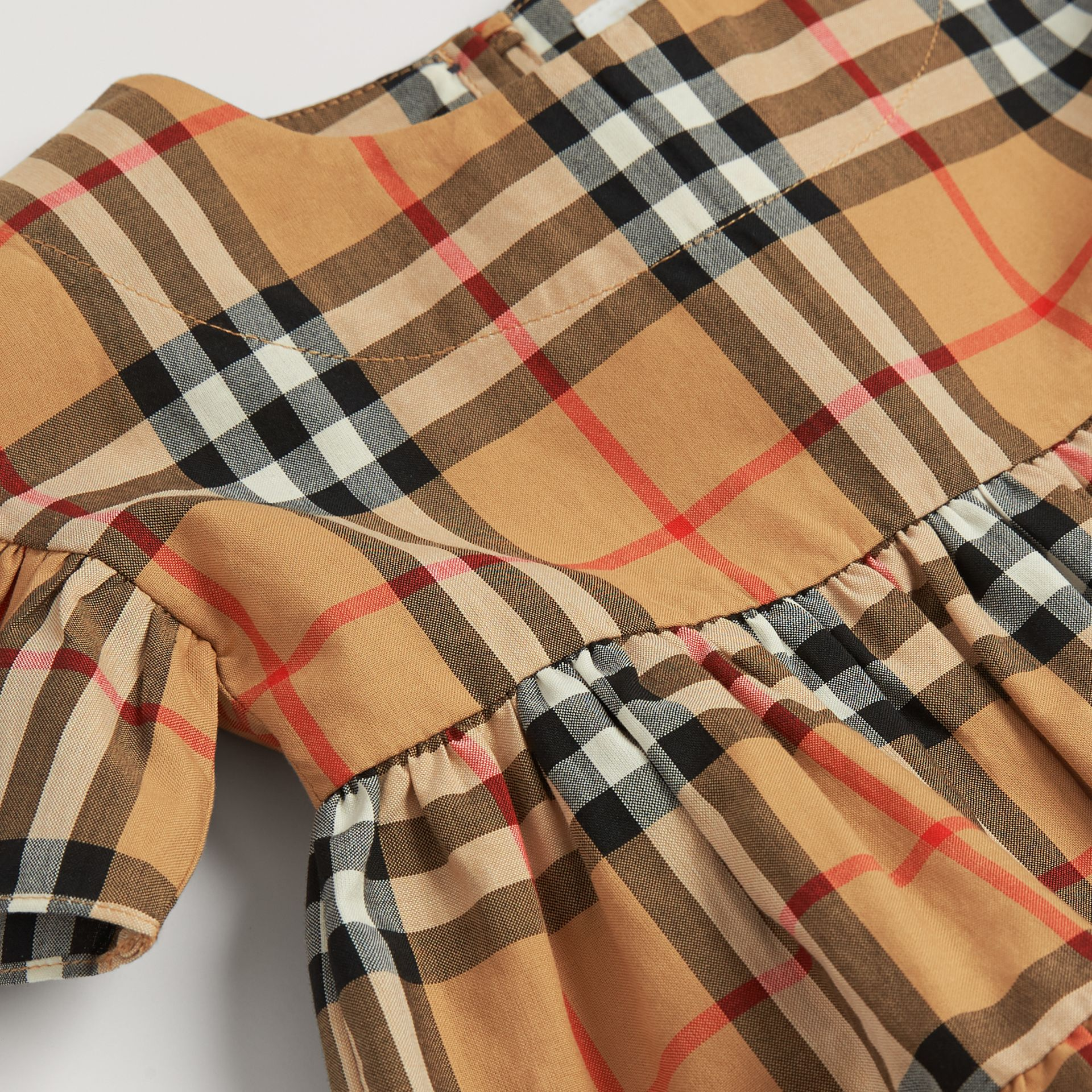 Ruffle Detail Vintage Check Dress with Bloomers in Antique Yellow - Children | Burberry Canada - gallery image 1
