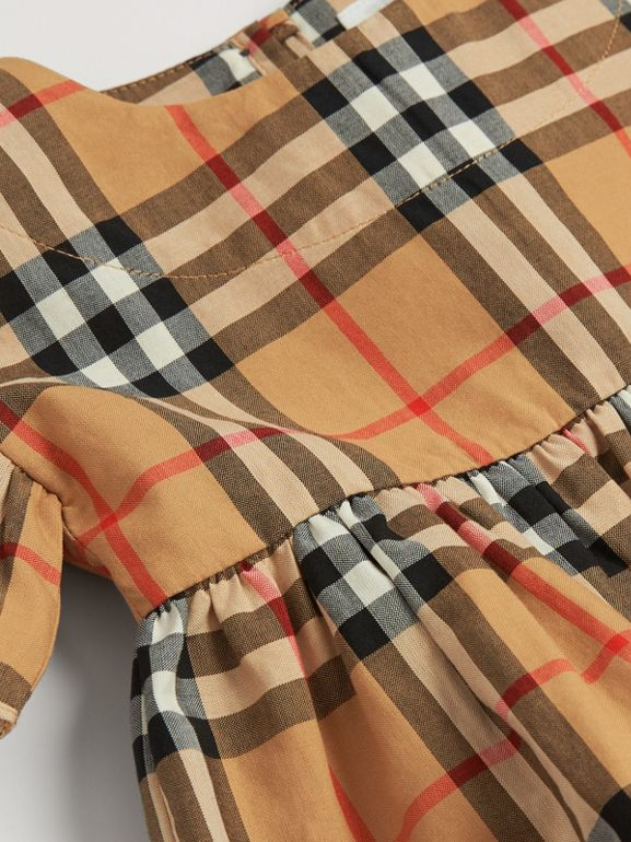 Ruffle Detail Vintage Check Dress with Bloomers in Antique Yellow - Children | Burberry United Kingdom - cell image 1