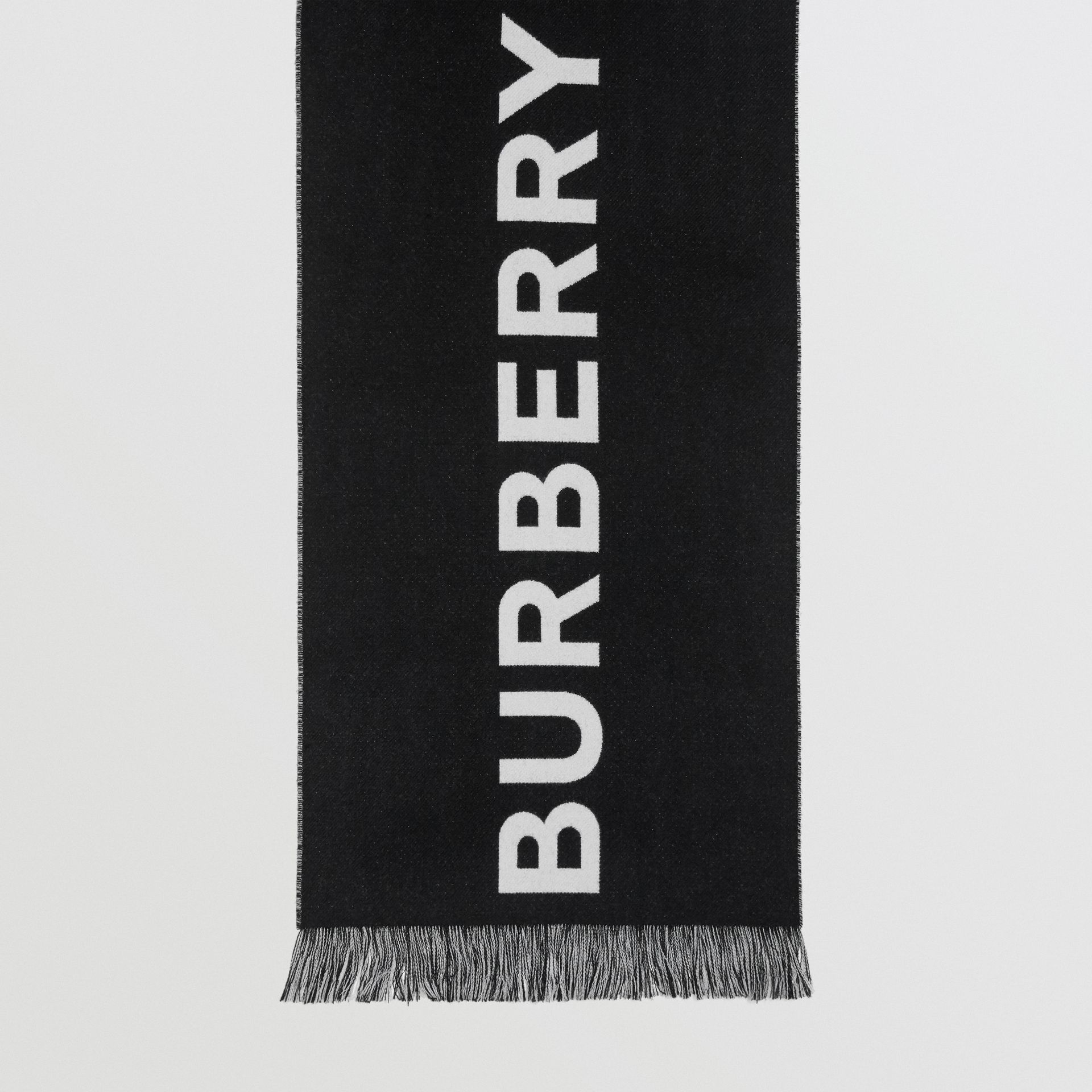 Logo Wool Scarf in Black/white | Burberry Singapore - gallery image 4
